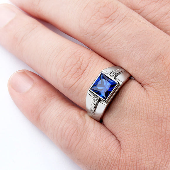 Men's Silver Ring with Natural Diamonds and Blue Sapphire Gemstone - J  F  M