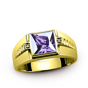 Men's 10K Gold Ring with Natural Diamonds and Purple Amethyst Gemstone, Statement Ring for Men - J  F  M