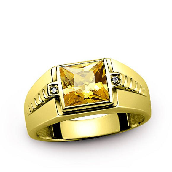 Men's Ring Citrine in 10K Yellow Gold with Natural Diamonds, Men's Gemstone Ring - J  F  M