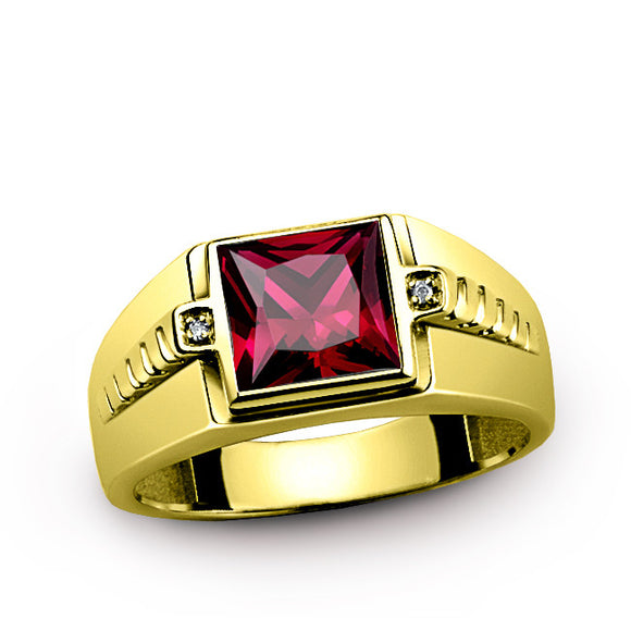 Men's Ring with Natural Diamonds and Red Ruby in 10K Yellow Gold - J  F  M
