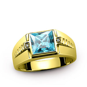 Men's Ring 10k Gold with Natural Diamonds and Blue Topaz, Men's Gemstone Ring - J  F  M