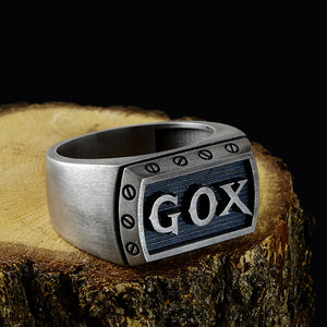 Personalized Mens Signet Ring Heavy Silver Ring For Men With Initials