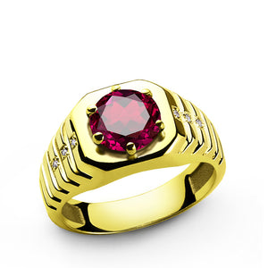 Men's Ring with Red Ruby and Diamonds in 14k Yellow Gold - J  F  M