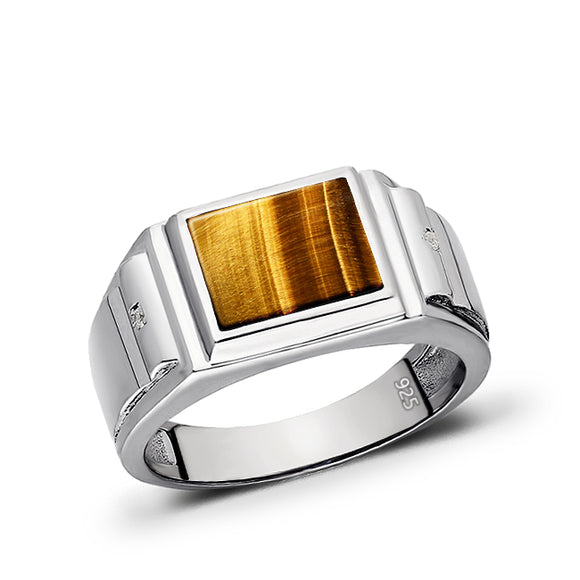 Solid Sterling 925 Tigers Eye Natural Gemstone Mens Silver Gents Signet Ring