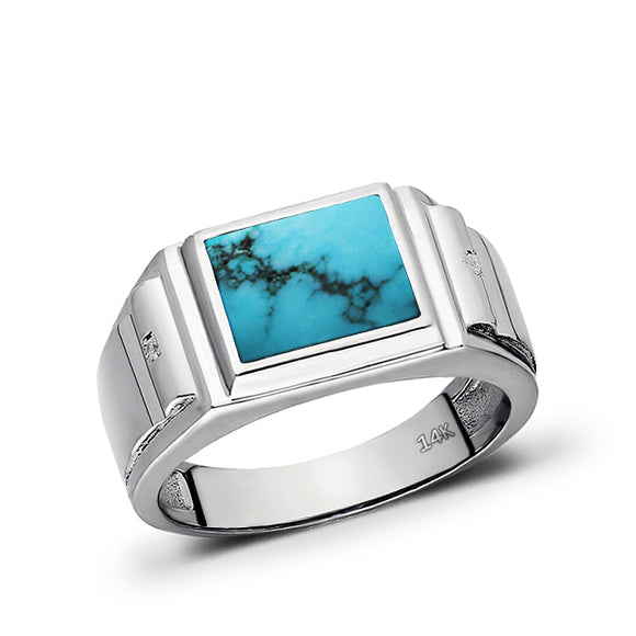 14K White Gold Turquoise Mens Solid Ring 0.04ct Natural Diamonds Ring for Man