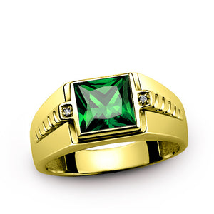 Men's Ring 10K Gold with Green Emerald and Natural Diamonds - J  F  M