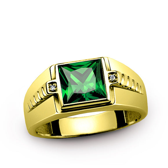 Men's Ring with Green Emerald Gemstone and Natural Diamonds in 14K Yellow Gold - J  F  M