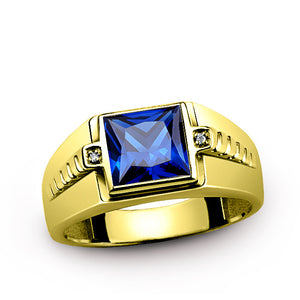 Men's Ring Sapphire in 10K Gold with Natural Diamonds, Men's Blue Gemstone Ring - J  F  M