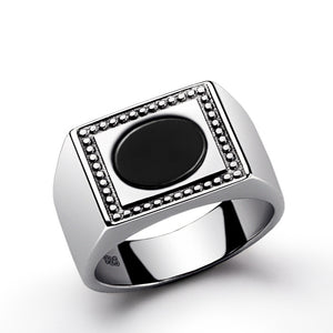 Men's Statement Ring with Natural Black Onyx in 925 Sterling Silver - J  F  M