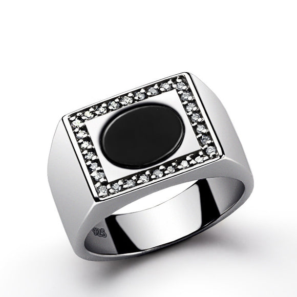 Men's Diamond Ring with Natural Black Onyx Gemstone in 925 Sterling Silver - J  F  M