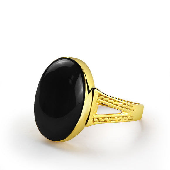 14k Solid Gold Men's Ring with Natural Black Onyx Stone - J  F  M
