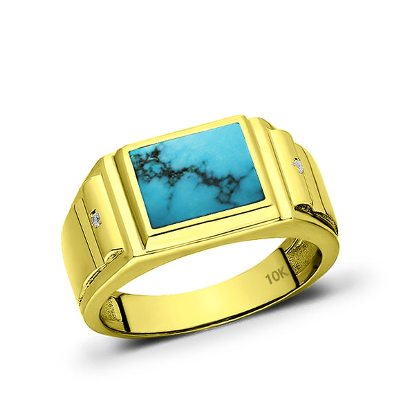 Solid Real 10K Yellow Fine Gold Ring for Men Turquoise with 2 Natural Diamonds