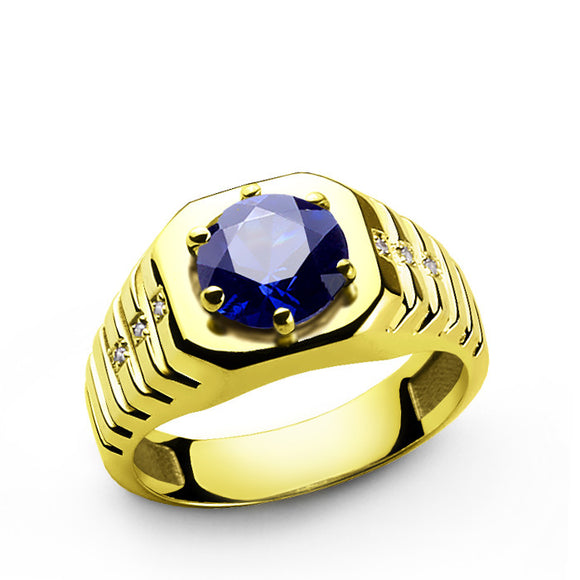 10k Yellow Gold Men's Ring with Genuine Diamonds and Sapphire Gemstone - J  F  M