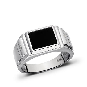Solid 14K White Gold Estate Geometric Modern Design Mens Onyx and Diamond Ring