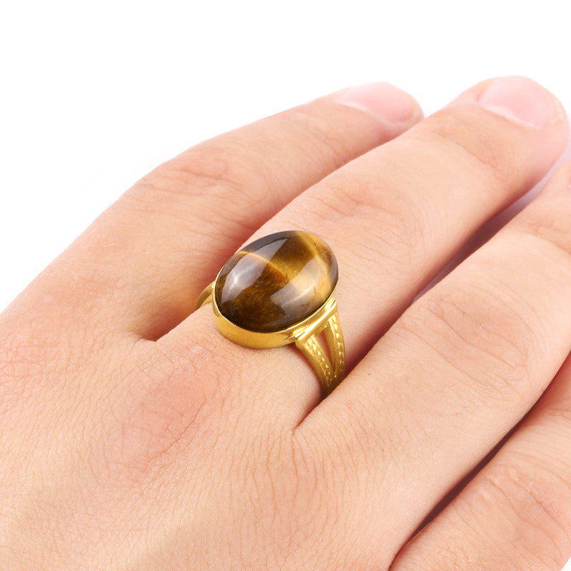 Tiger's Eye Men's Ring in 14k Yellow Gold, Natural Stone Ring - J  F  M