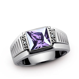 Men's Amethyst Ring with Natural Diamonds in Sterling Silver - J  F  M