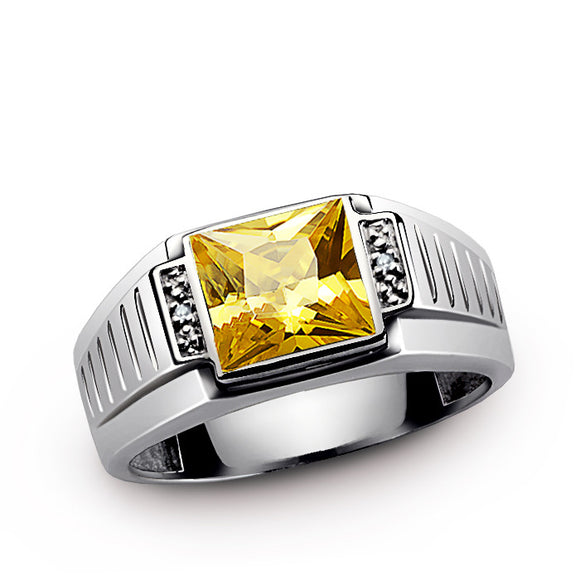 Yellow Citrine Men's Ring in Sterling Silver with Natural Diamonds - J  F  M