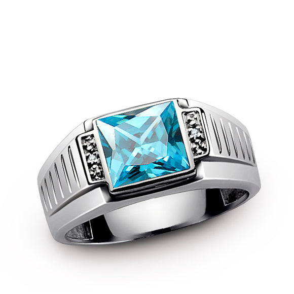 Men's Ring Sterling Silver with Natural Diamonds and Blue Topaz Gemstone - J  F  M