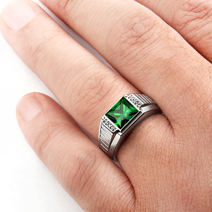 Men's Ring with Green Emerald and Natural Diamonds in Sterling Silver - J  F  M