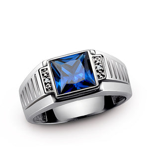 Men's Silver Ring with Natural Diamonds and Blue Sapphire - J  F  M