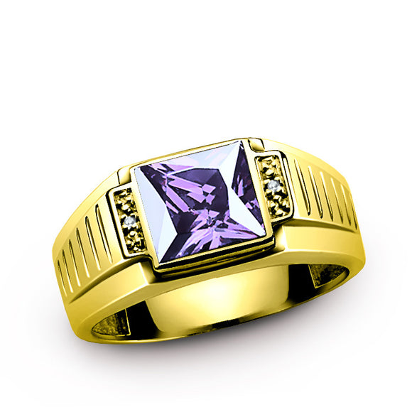 10K Gold Men's Ring with Amethyst Gemstone and Genuine Diamonds, Statement Ring for Men - J  F  M
