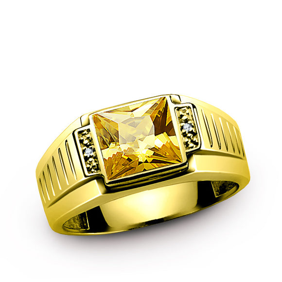 Men's 10K Gold Ring with Natural Diamonds and Citrine, Yellow Gemstone Ring for Men - J  F  M