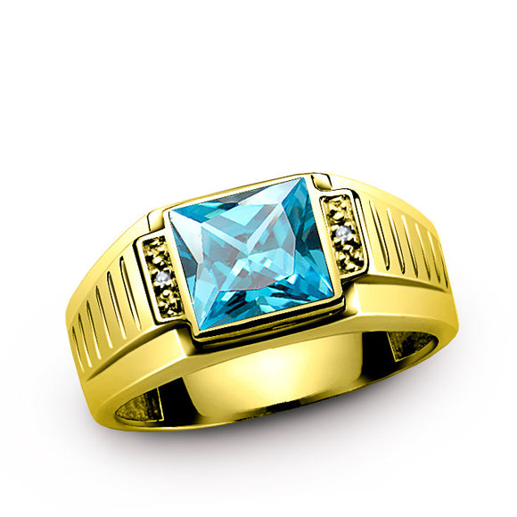 10K Gold Men's Ring with Blue Topaz Gemstone and Diamonds - J  F  M