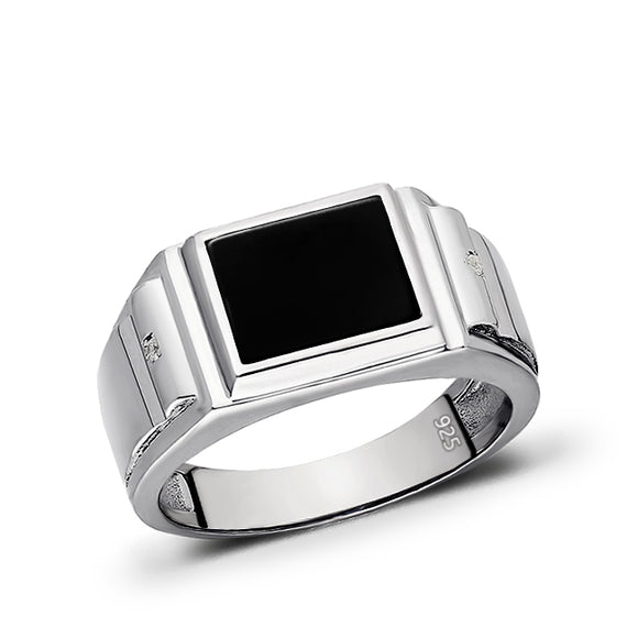 Real 925 Solid Sterling Silver Black Rectangle Onyx Ring For Men with 2 Diamonds