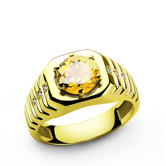 Citrine Men's Ring with Natural Diamonds in 14k Yellow Gold - J  F  M