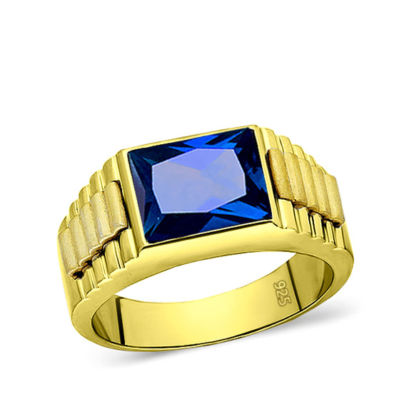 18K Yellow Gold Plated Mens Heavy Silver Ring with Blue Sapphire Gemstone All Sz