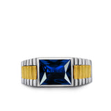 Mens Band Ring Jewelry Blue Sapphire Stone Solid Elegant 925 Sterling Silver