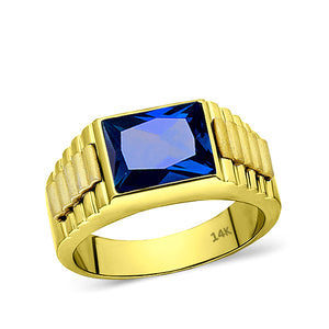 Man Blue Sapphire Statement Solid Fine 14k Yellow Gold Men's Heavy Wide Ring