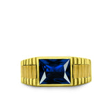 18K Solid Yellow Gold Wedding Engagement Ring Band with Blue Sapphire Gemstone