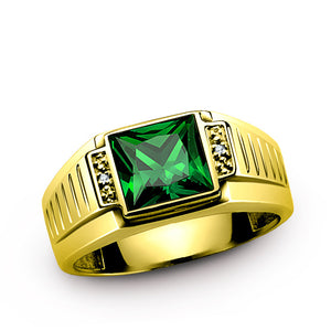 Men's Ring with Green Emerald Gemstone and Natural Diamonds in 10k Gold - J  F  M