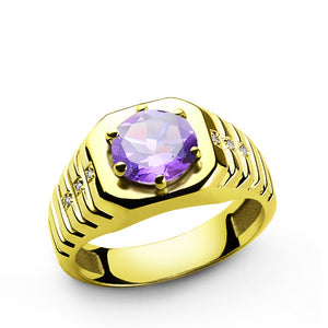 Men's Ring with Purple Amethyst and Diamonds in 14k Yellow Gold - J  F  M