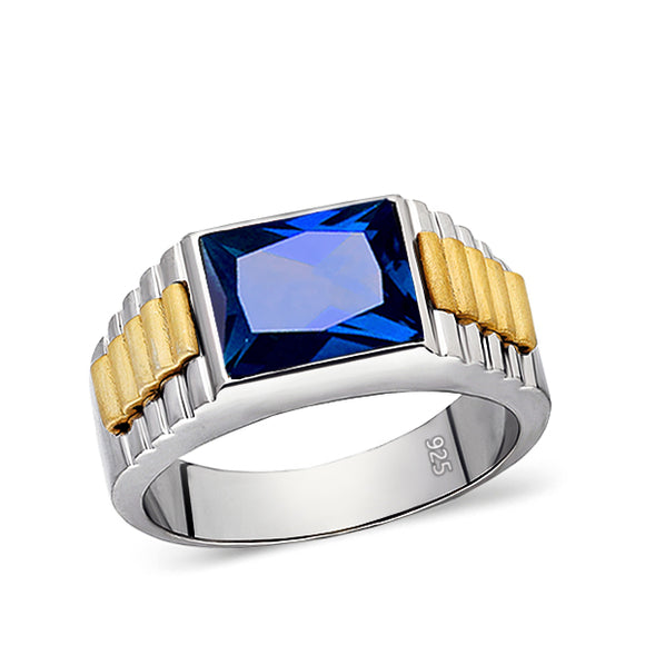 Solid Fine 14k White Gold Mens Ring With Rectangle Blue Sapphire Gemstone All Sz