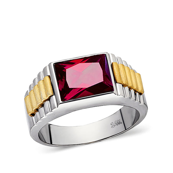 Solid Fine 14k White Gold Mens Classic Ring with Red Ruby Gemstone