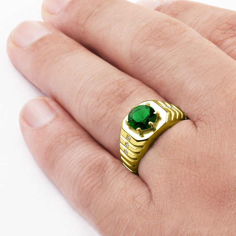 Emerald Ring for Men with Natural Diamonds in 14k Yellow Gold - J  F  M