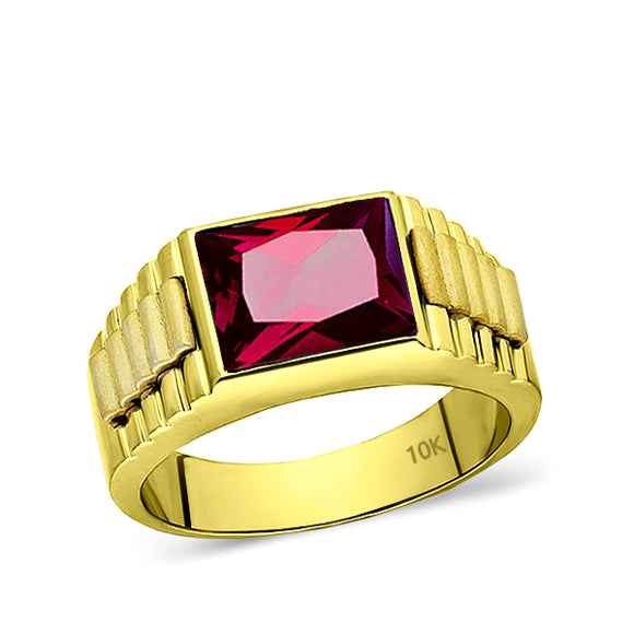 Solid 10k Yellow Gold Mens Modern Band Ring with Ruby Gemstone