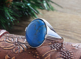Sterling Silver Large Men's Ring with Blue Turquoise Natural Gemstone - J  F  M