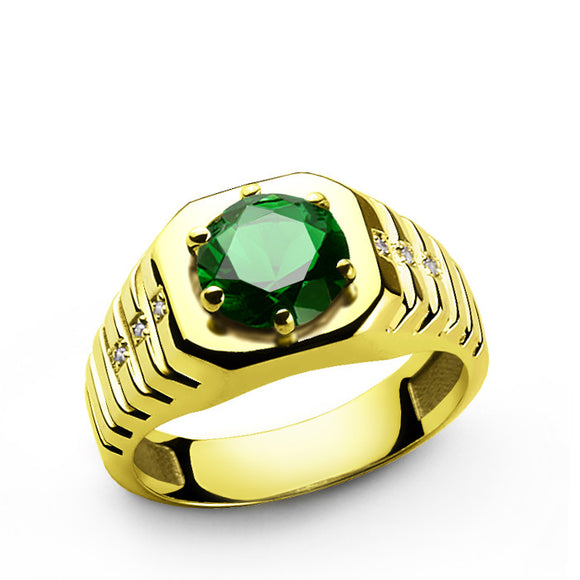 10k Yellow Solid Gold Men's Ring with Emerald and Genuine Diamonds - J  F  M