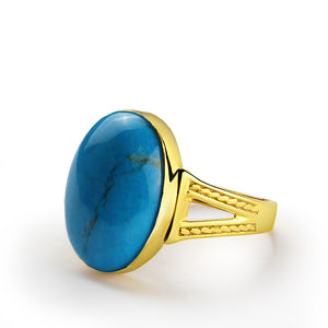 Men's Ring with Blue Turquoise in 10k Yellow Gold, Natural stone Ring for Men - J  F  M