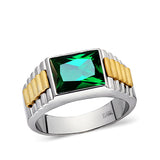 Solid Fine 14k White Gold Mens Ring With Rectangle Green Emerald Gemstone