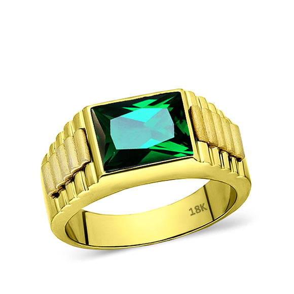 Solid 18K Mens Yellow Gold Band Ring with Green Emerald Gemstone
