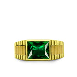 Green Emerald Statement Solid Fine 14k Yellow Gold Men's Heavy Wide Ring