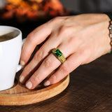 18K Yellow Gold Plated Mens Heavy Silver Ring with Green Emerald Gemstone