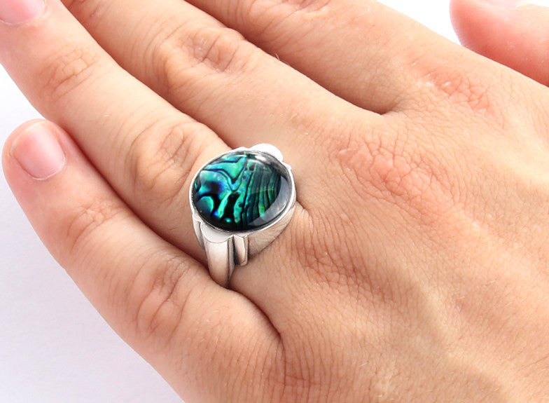 925 Sterling Silver Ring for Men with Natural Blue Abalone - J  F  M