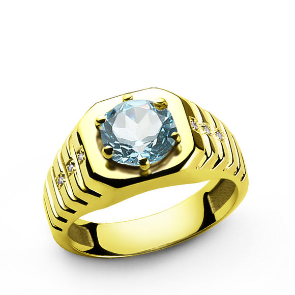 Men's Ring in 14k Yellow Gold with Topaz Gemstone and Diamonds - J  F  M