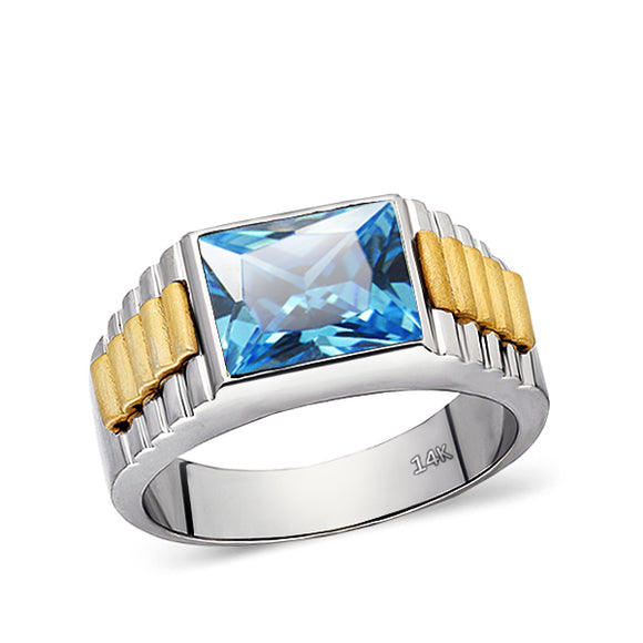 Real Solid Fine 14k White Gold Classic Ring for Men with Blue Topaz Gemstone