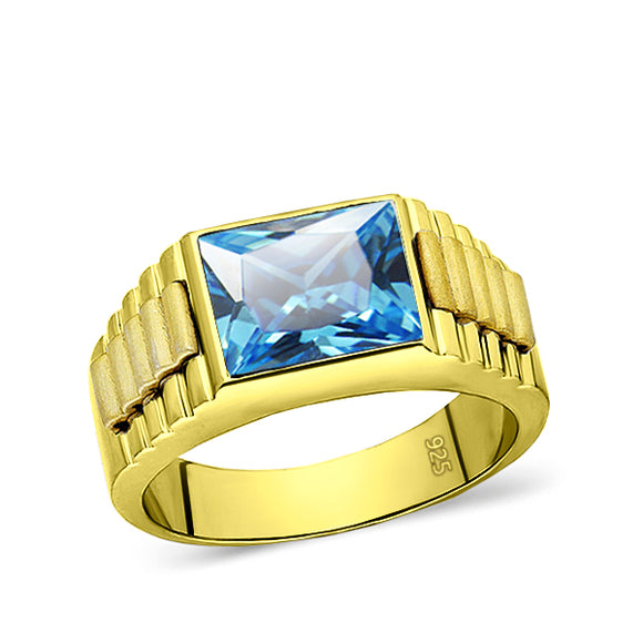 Mens Solid 18K Gold Blue Topaz Gemstone Ring 2 Natural Diamond Accents